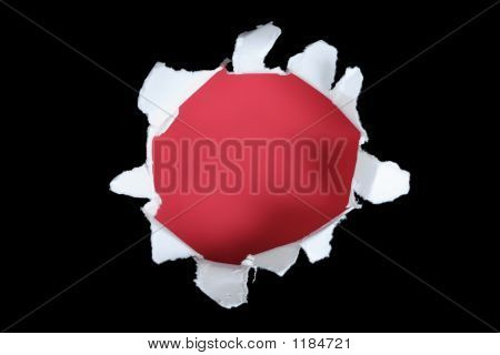 Black And Red Torn Out Hole