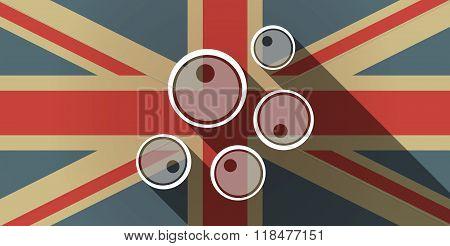 Long Shadow Uk Flag Icon With Oocytes