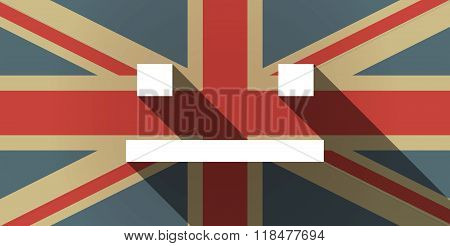 Long Shadow Uk Flag Icon With A Emotionless Text Face