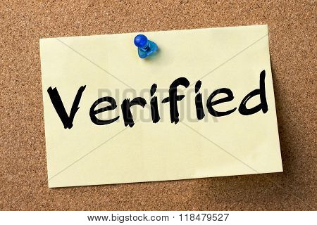 Verified - Adhesive Label Pinned On Bulletin Board