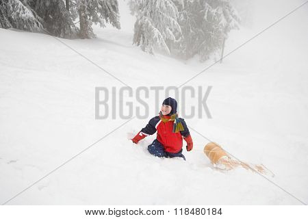 Boy with toboggan