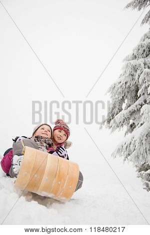 Girls on toboggan
