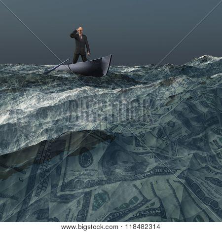 Man afloat on sea of US currency under dark skies