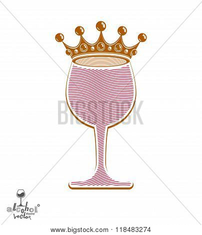 Stylish Pink Wineglass With Imperial Crown Isolated On White Background. Holiday And Celebration The