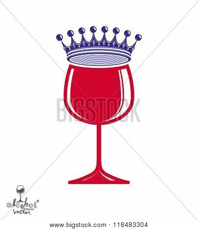 Stylish Luxury Wineglass With Imperial Crown Isolated On White Background. Holiday And Celebration T