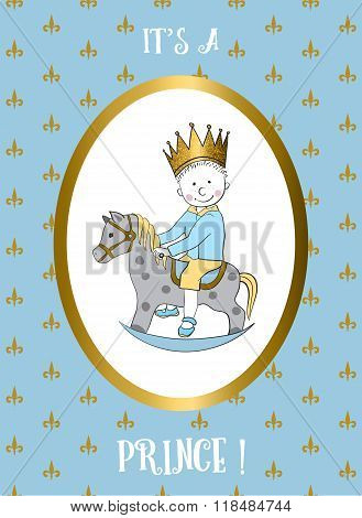 Its a boy card. Small prince riding rocking horse.