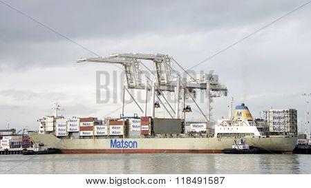 Cargo Ship Maui Entering The Port Of Oakland