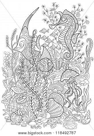 Zentangle Stylized Animal Set Sea Collection. Ocean Life.