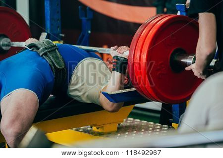 bench press at powerlifting competition