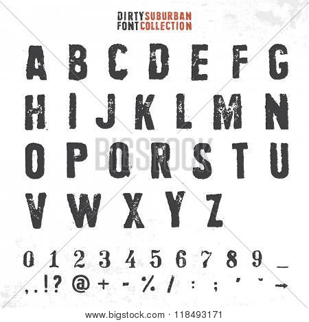 Grungy rubber stamp font. Vector alphabet with numbers and symbols.