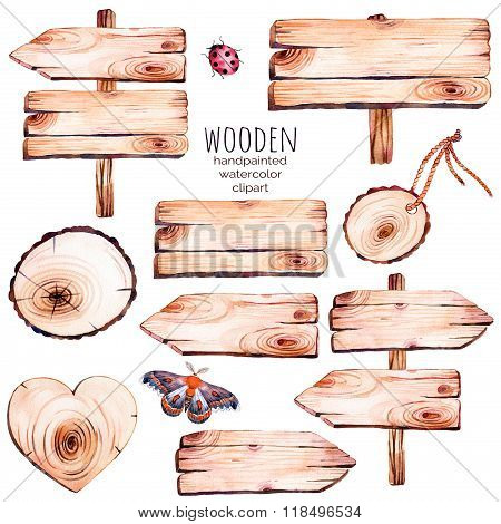This handpainted collection of 9 watercolor wood slices clipart.