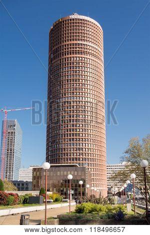 Lyon France - April 15, 2015: The Tour Part-dieu Is A Skyscraper In Lyon, France. The Building Rises