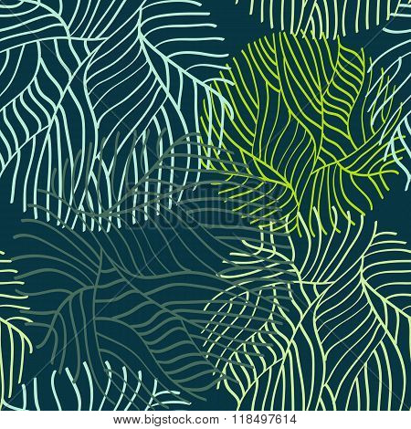 Vector hand drawn leaves seamless pattern