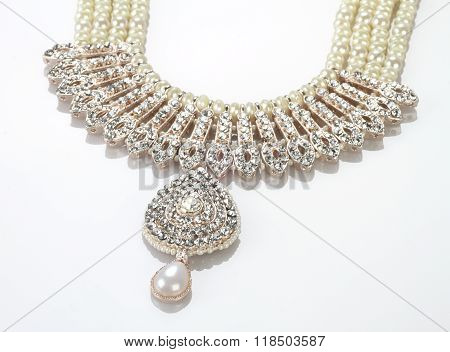 Modern Intricate Indian Jewellery Diamond Necklace On White Background