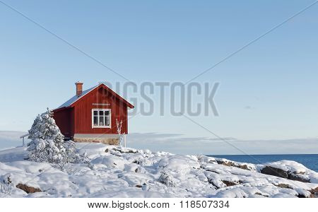Winter In The Archilelago And Red Cottage