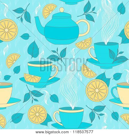 Tea Time Seamless Pattern With Hand Drawn Doodle Elements. Breakfast Seamless  Pattern With Tea Pots
