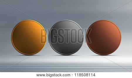 Gold Silver Bronze Coin With Background