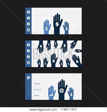 Web Design Elements - Header Design Set With Hands And Dollar Signs