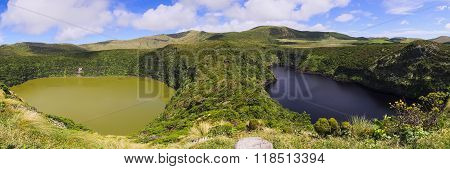 Lagoa Funda And Lagoa Comprida Twin Lakes On Flores Island, Azores Archipelago