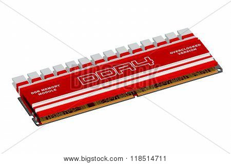 DDR4 memory module isolated on white background poster