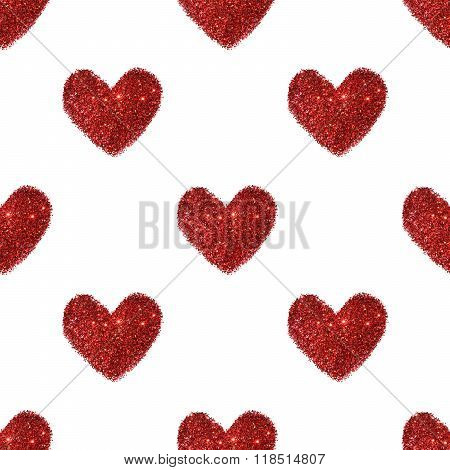 Background with hearts of red glitter, seamless pattern