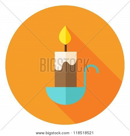 Candle Circle Icon With Long Shadow