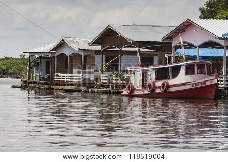 Manaus, Brazil, October 17: Typical Wooden Wooden Houses On Rio Negro Near Manaus, Amazonas State. B
