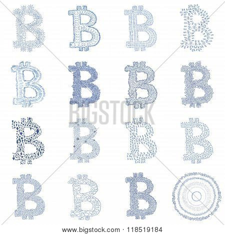 Hand-drawn Bitcoin Logo Collage