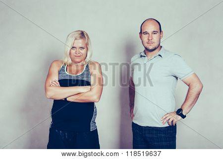 Confident Sporty Corpulent Couple