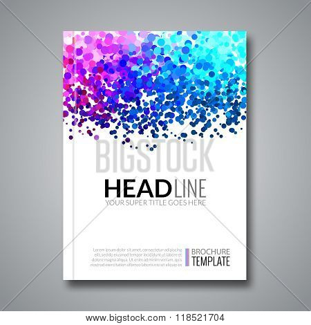 Business report design background with colorful dots, simulating watercolor. Dotwork Brochure Cover