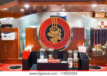HONG KONG - JUNE 01, 2015: interior of Pacific Coffee cafe. Pacific Coffee Company is a Pacific Northwest U.S.- style coffee shop group originating from Hong Kong