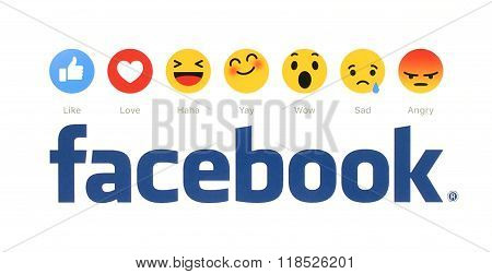 New Facebook like button 6 Empathetic Emoji Reactions printed on white paper