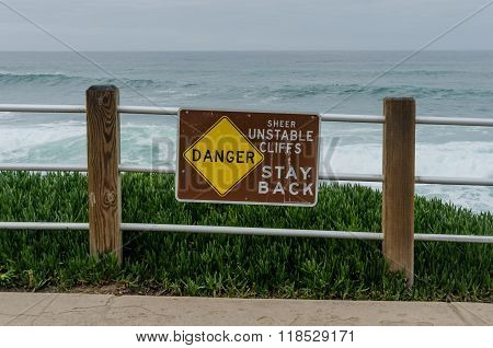Danger Unstable Cliffs Sign