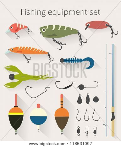 Fishing set of accessories for spinning fishing with crankbait lures and twisters and soft plastic b