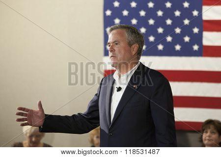 BEAUFORT, SOUTH CAROLINA- FEBRUARY 17, 2016: Presidential hopeful Jeb Bush speaks at a town hall meeting in Beaufort, South Carolina
