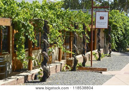BAROSSA VALLEY AUSTRALIA - JANUARY 5 2016: St Hallett winery established 1944 in the Barossa Valley South Australia visitor center. poster