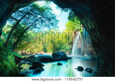 Amazing Cave In Deep Forest With Beautiful Waterfalls Background At Haew Suwat Waterfall In Khao Yai