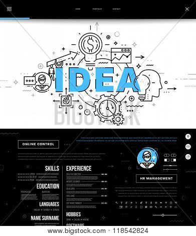 Flat Style, Thin Line One Page Web Site Design. Set of application development, web site coding, information and mobile technologies vector icons and elements. Modern concept vectors collection