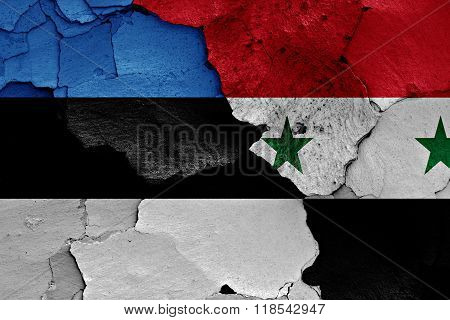 Flags Of Estonia And Syria Painted On Cracked Wall
