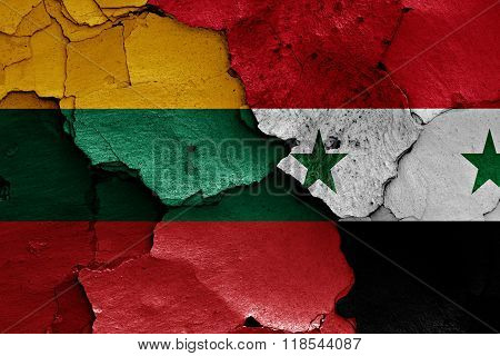 Flags Of Lithuania And Syria Painted On Cracked Wall