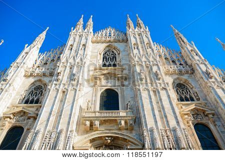 Fascade Of The Milan Cathedral (Duomo Di Milano)