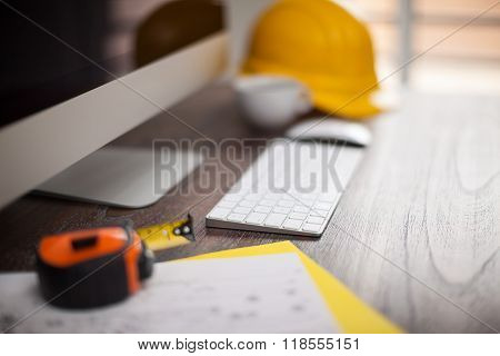 Closeup Of A Contractor's Workspace