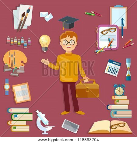 Education Student And School Tools Back To School Vector Illustration