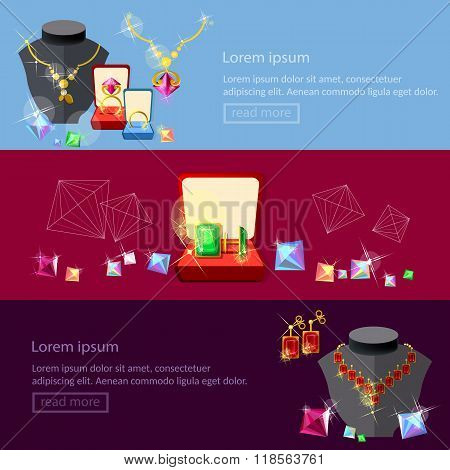 Jewelry Banners Jewels Earrings Rings Gems Pendants Best Jewelry Store Vector
