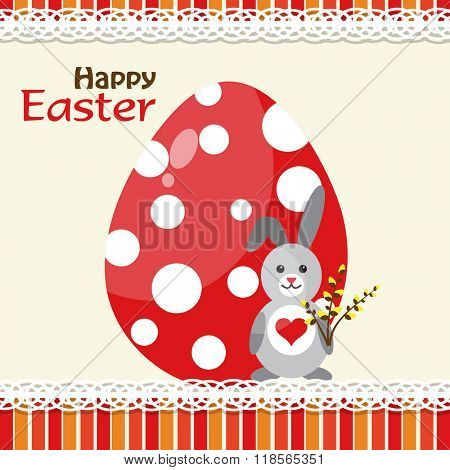 Template Easter greeting card, rabbit, vector illustration