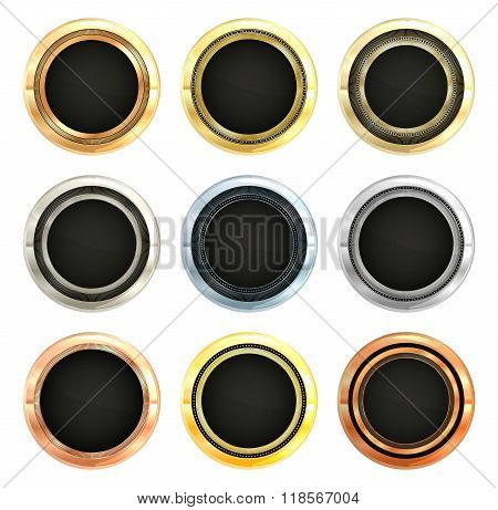 Vector Collection of Metal labels Gold Silver Platinum copper bronze aluminum with brass insert blac