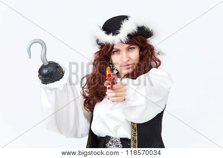 Beautiful Actress In Pirate Costume With Pistol And Hook