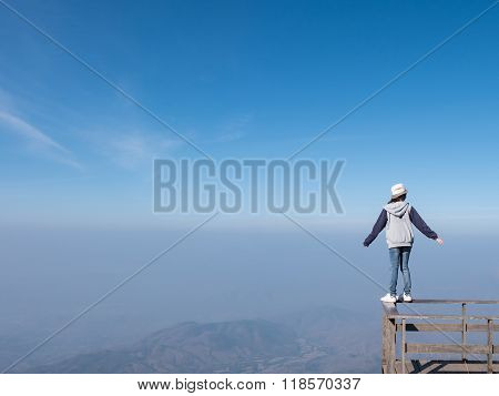 Woman Standing On Balcony With Mountain Landscape View At Kio Mae Pan, Chiang Mai, Thailand. Copy Sp