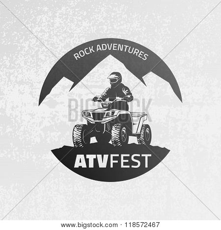 Atv Emblem On Grunge Grey Background.