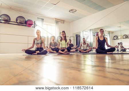 Yoga Class In A Gym